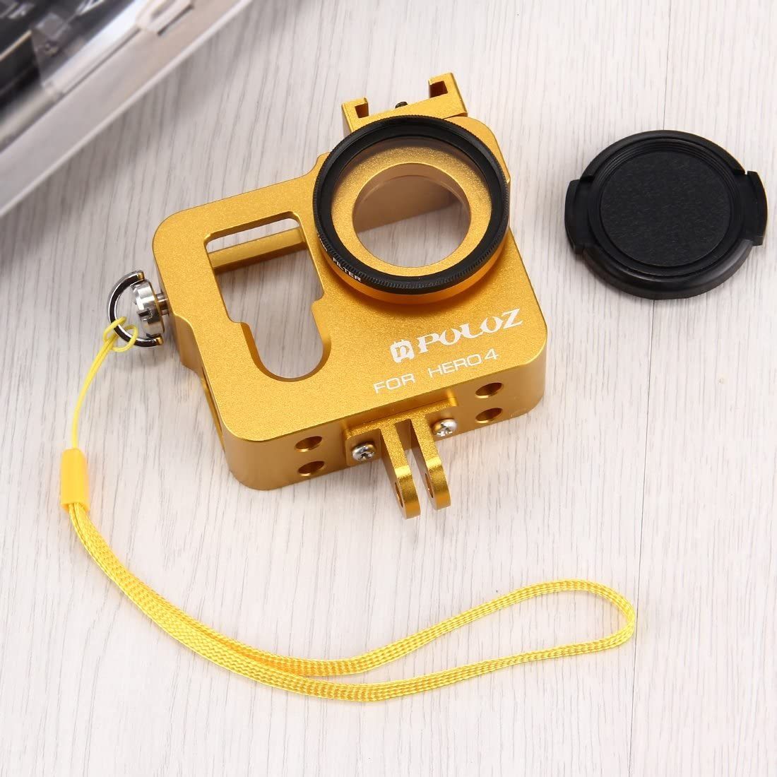 for DJI Gopro Action Camera Housing Shell CNC Aluminum Alloy Protective Cage with 37mm UV Lens Filter /& Lens Cap for GoPro HERO4 Color : Gold Black