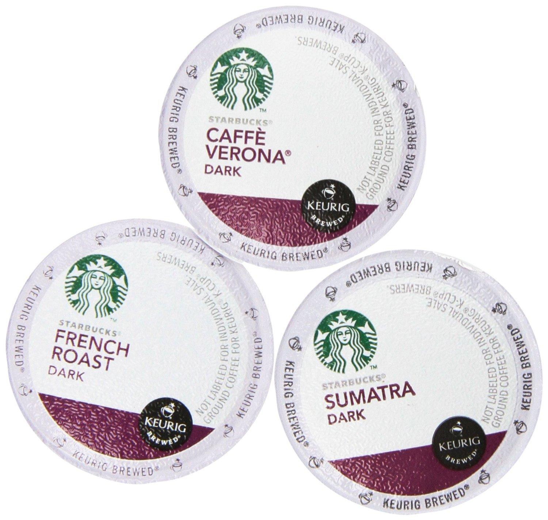 144 Pack - Starbucks Variety Coffee K-Cup Featuring 3 Dark Roast for Keurig Brewers – French Roast, Sumatra, Caffe Verona