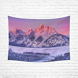 Unique Debora Custom Wall Tapestry Wall Art Hanging 60x80 Inch Mountains National Park Winter Snow
