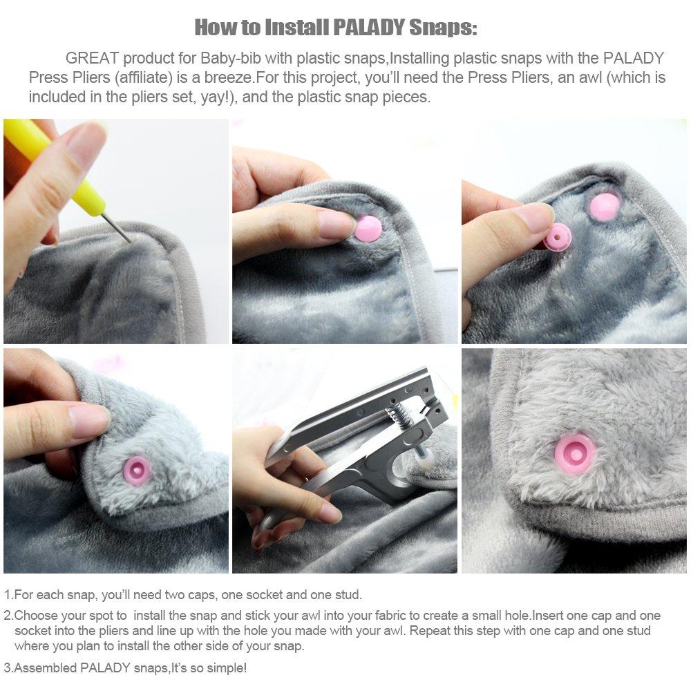 PALADY 300pcs T5 Snaps botón Plastico Snaps Alicate DIY Manualidades Herramienta de Plástico Botones Sujetador para el pañal de bebé Diaper Bib (20 ...