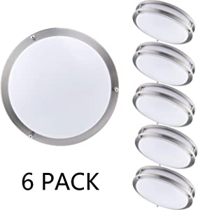 "KINGBRITE LED Ceiling Light Fixture (6 Pack) Flush Mount Interior Ceiling lamp Acrylic 12"" Brushed Nickel 15W 1050lm 3000K Dimmable"