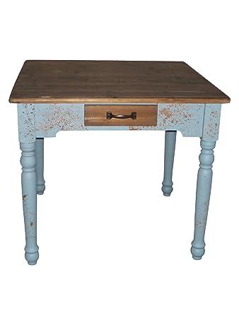 Küchentisch shabby chic  Amazon.de: elbmöbel Tisch 90x90cm braun blau Esstisch Holz-Tisch ...