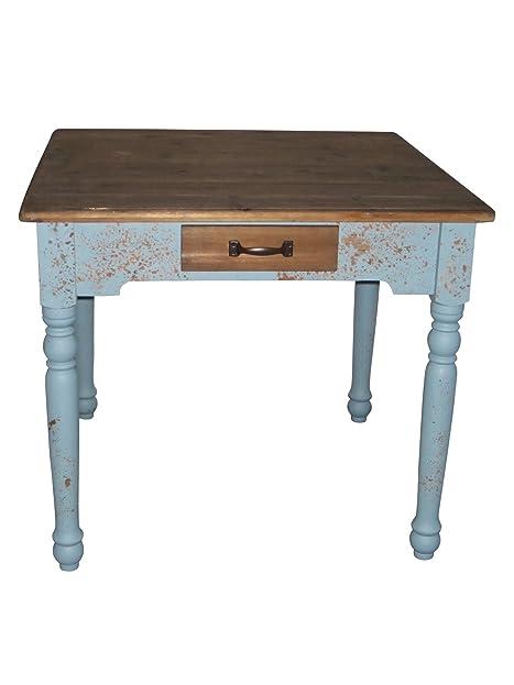 Amazon.De: Elbmöbel Tisch 90X90Cm Braun Blau Esstisch Holz-Tisch