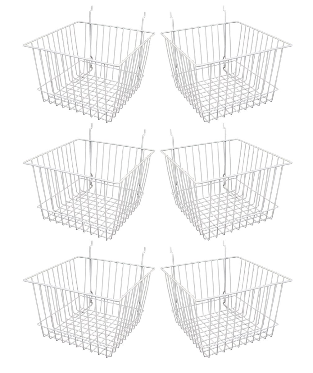 Econoco - White Multi-Fit 12'' Deep Wire Basket for Slatwall, Pegboard or Gridwall (Set of 6) Metal Semi-Gloss Basket, White