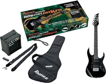 Ibanez IJM21RU-BKN - Kit de iniciación compuesto de guitarra eléctrica, amplificador (10 W), funda, correa, púas, cable y afinador, color negro.: Amazon.es: Instrumentos musicales