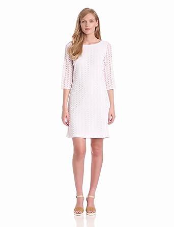 Nine West Dresses Women's Crochet Leaves Shift Dress, White, 4