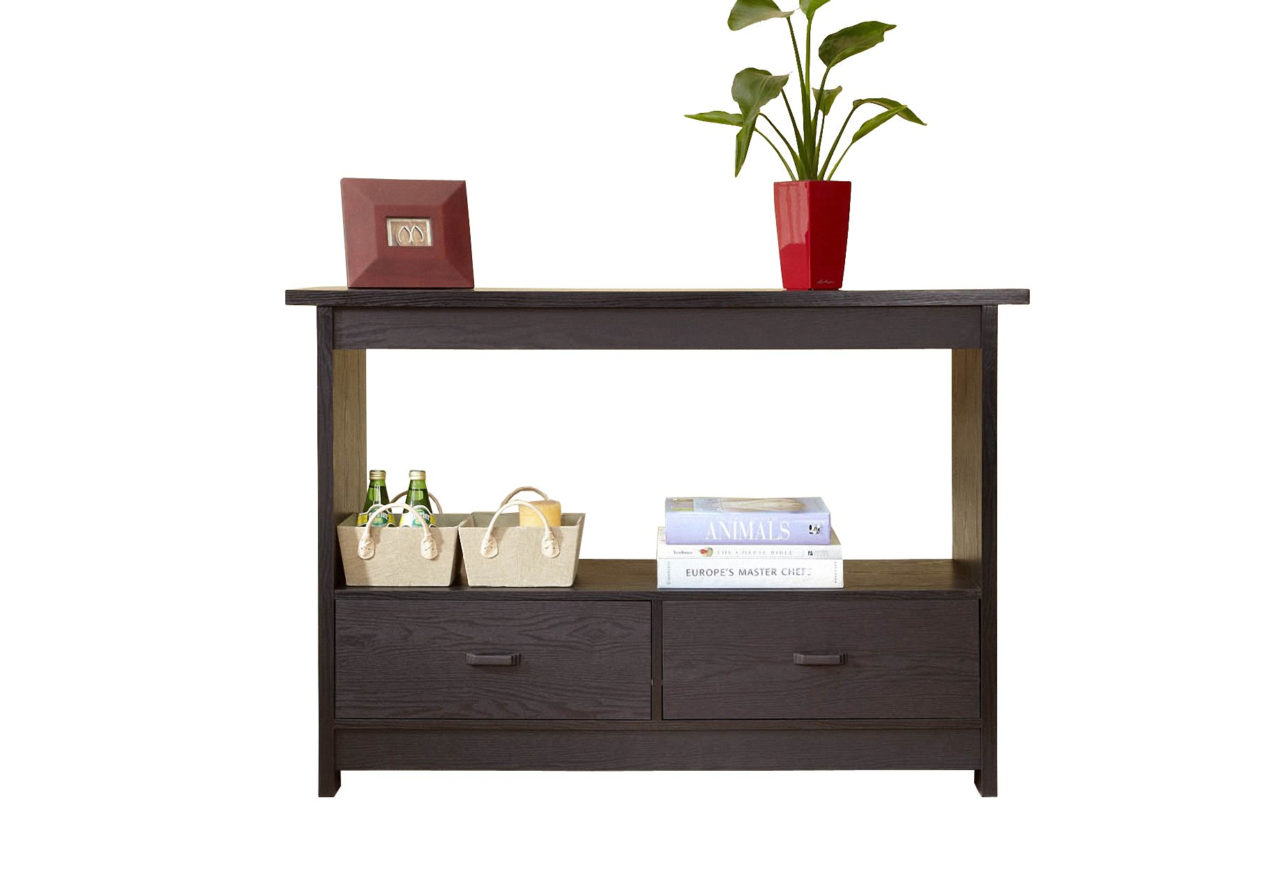 ioHOMES Alpha Console Table with Drawers, Black
