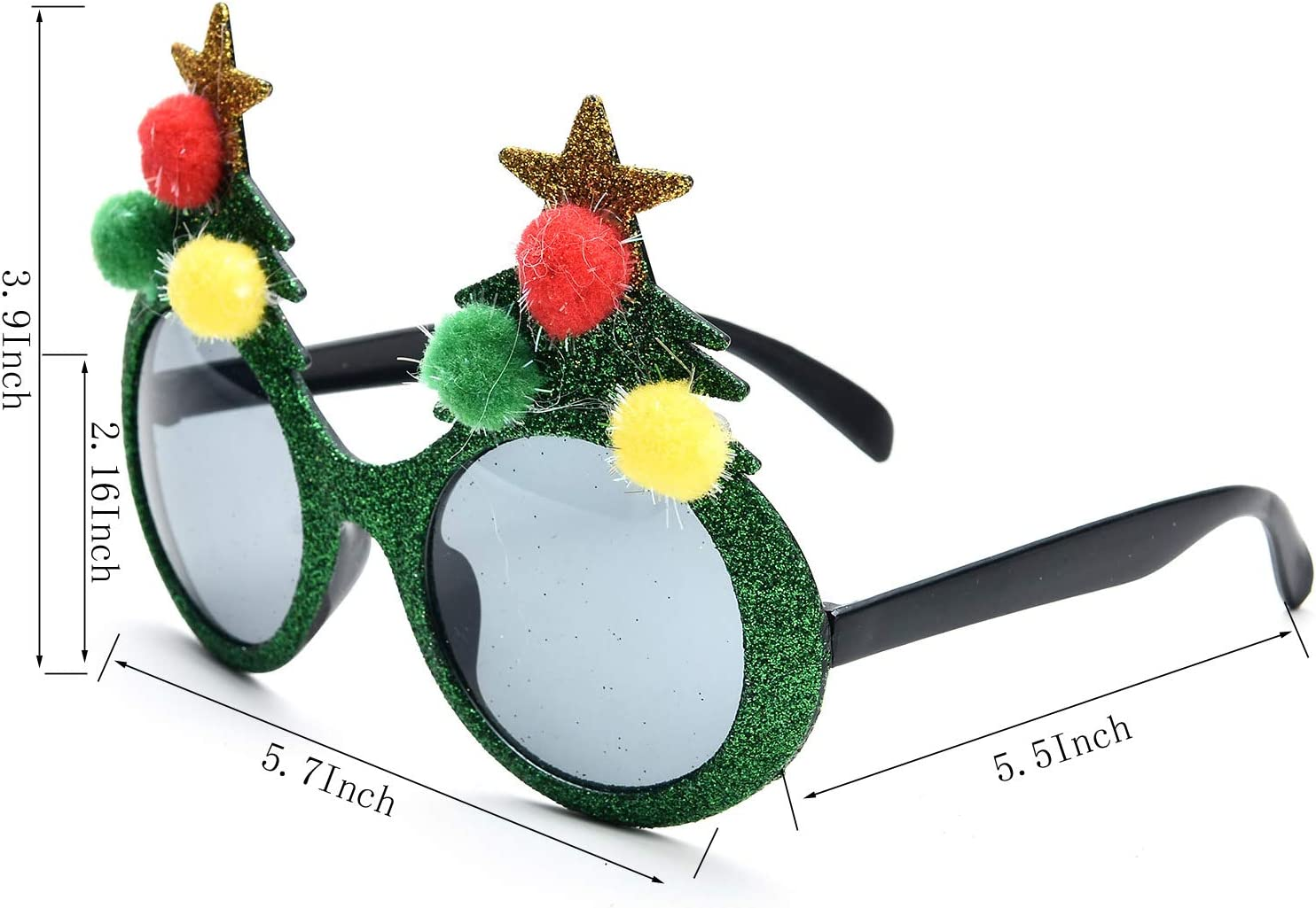 OAONNEA 4 Piece 3d Novelty Christmas Glasses Glitter Party Favours Sunglasses for Kids and Adults Christmas