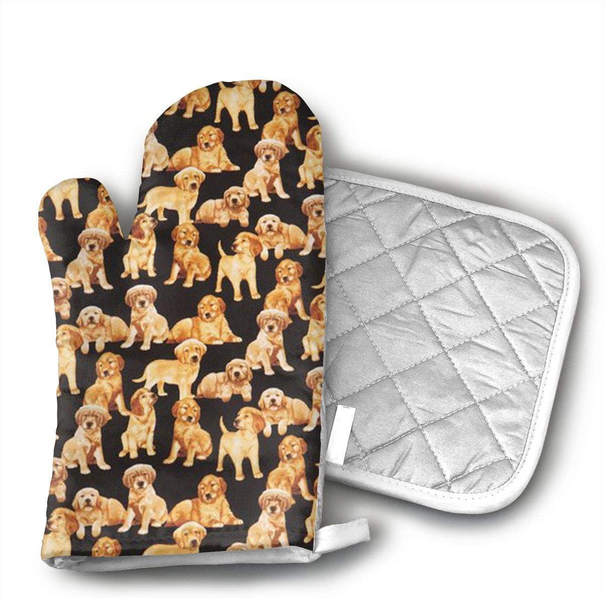 QEDGC Black Golden Retriever Dog Puppy Oven Hot Mitts Professional Heat Resistant Pot Holder & Baking Gloves