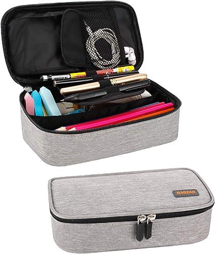 Estuche para lápices, estuche para bolígrafos de gran capacidad RAGZAN Bolso para bolsa Organizador de escritorio con cremallera para útiles escolares y de oficina (gris): Amazon.es: Oficina y papelería