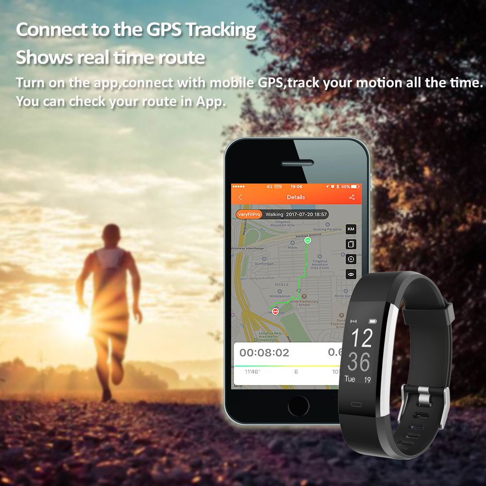 Lintelek Fitness Tracker, Heart Rate Monitor Activity Tracker with Connected GPS Tracker, Step Counter, Sleep Monitor, IP67 Waterproof Pedometer for Android and iOS Smartphone by Lintelek (Image #6)