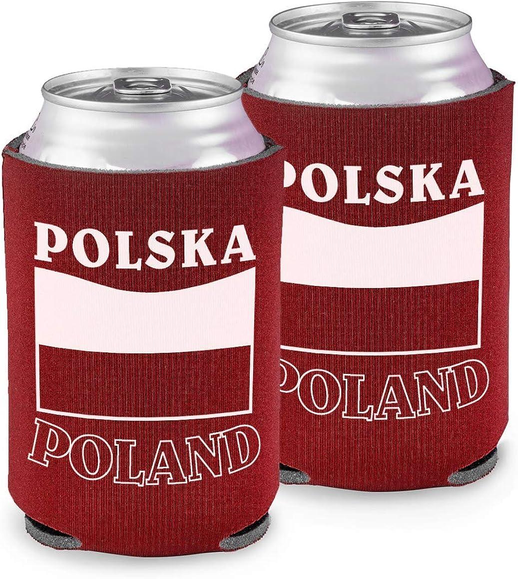 Soda Can or Beer Holder with Polska and Poland Around Polish Flag, Set of 2