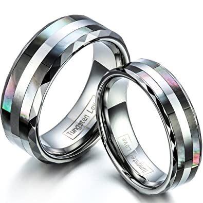 JewelryWe Free Engraving Matching Comfort Fit Tungsten Wedding Rings