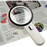 Number-One 10X LED Lighted Magnifier, Handheld Magnifying Glass Illuminated Lens with 12 Lights, 80mm Large Viewing Mirror