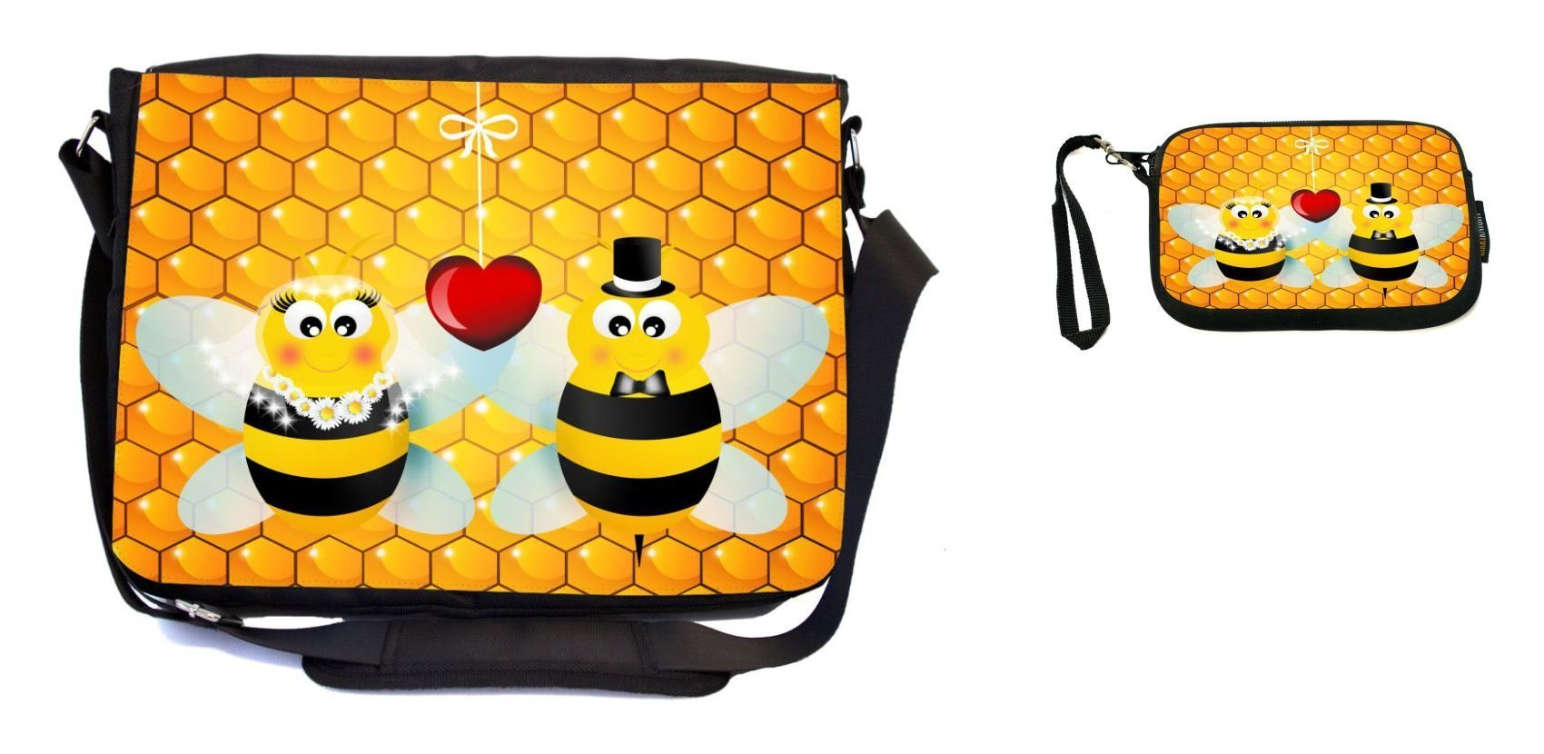 Rikki Knight Bumble Bees in Love Wedding Illustration Design Messenger Bag - School Bag - Laptop Bag - with Padded Insert - Includes UKBK Premium Coin Purse