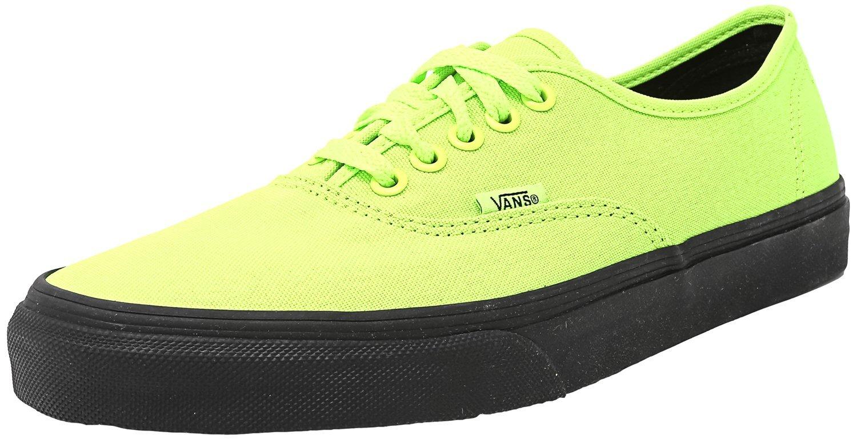 Vans Authentic Black Outsole Fashion Sneakers (12.5 B(M) US Women / 11 D(M) US Men, Neon Green/Black) by Vans
