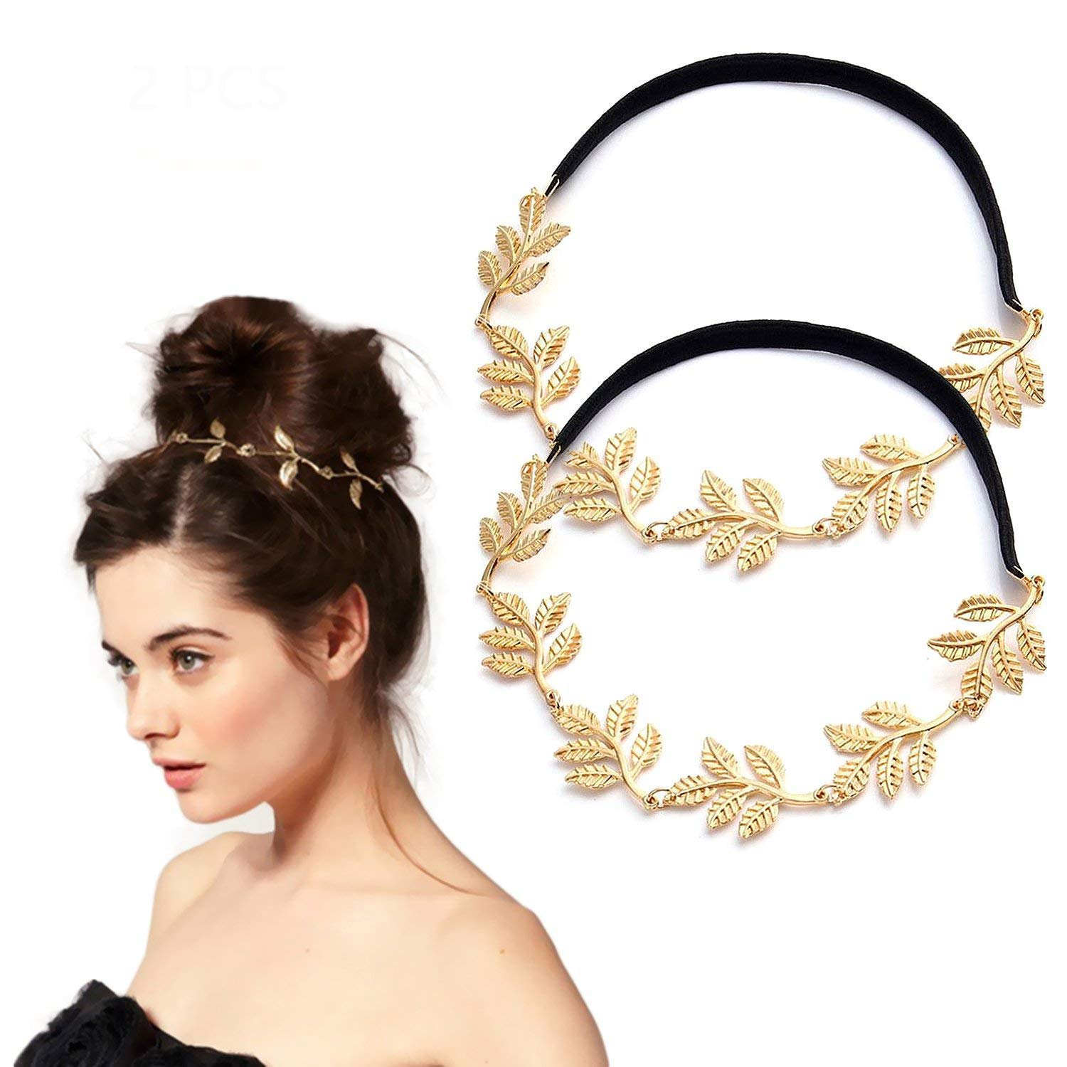 0143aa6761320 Amazon.com : Gold Leaf Headband for Women, 2 Pcs Jewelry Head Chain Golden  Elastic Hair Band Hair Accessories : Beauty