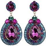 YAZILIND Jewelry Luxurious Full Colorful Waterdrop Flower Metal Dangle Drop Earrings For Women