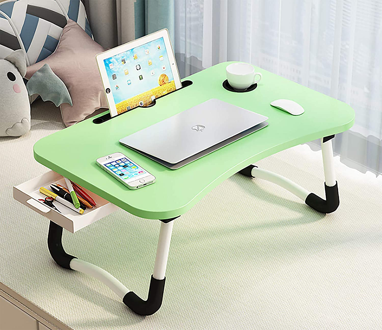 "Laptop Desk, Lap Desk for Laptop, Foldable Laptop Stand, Folding Computer Desk, Laptop Computer Desk Size 23.6"" x 15.8"" x 11.25"",is Very Suitable in Bed Watching Movies and Office (Green)"