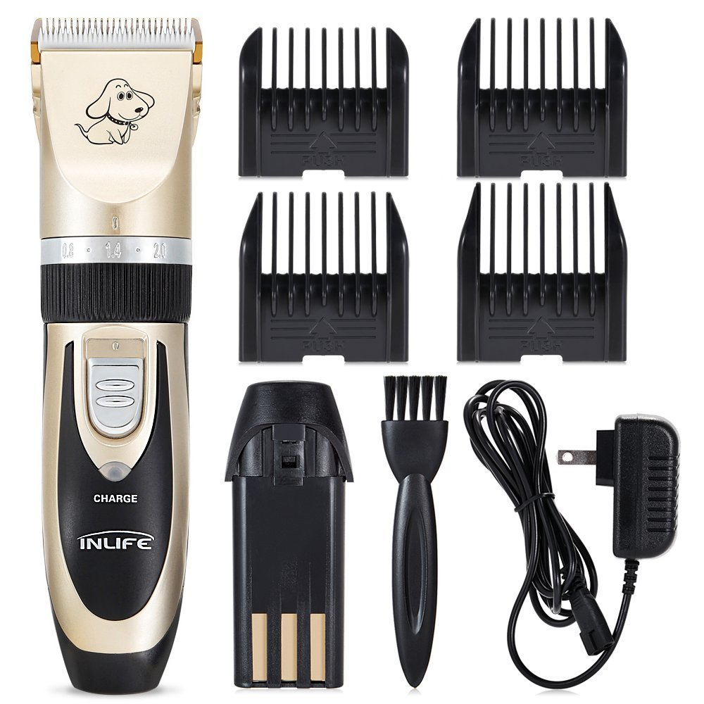 INLIFE Rechargeable Pet Hair Grooming Cordless Pet Clippers Trimming Kit Set for Dogs Cats Rabbits and Hamsters