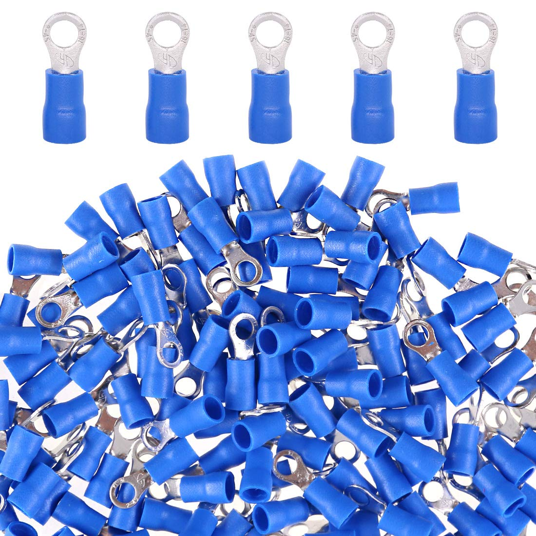 Glarks 100pcs 16-14 Gauge M4 Ring Electrical Insulated Quick Splice Crimp Terminals Connectors 71hnDHW-qrL