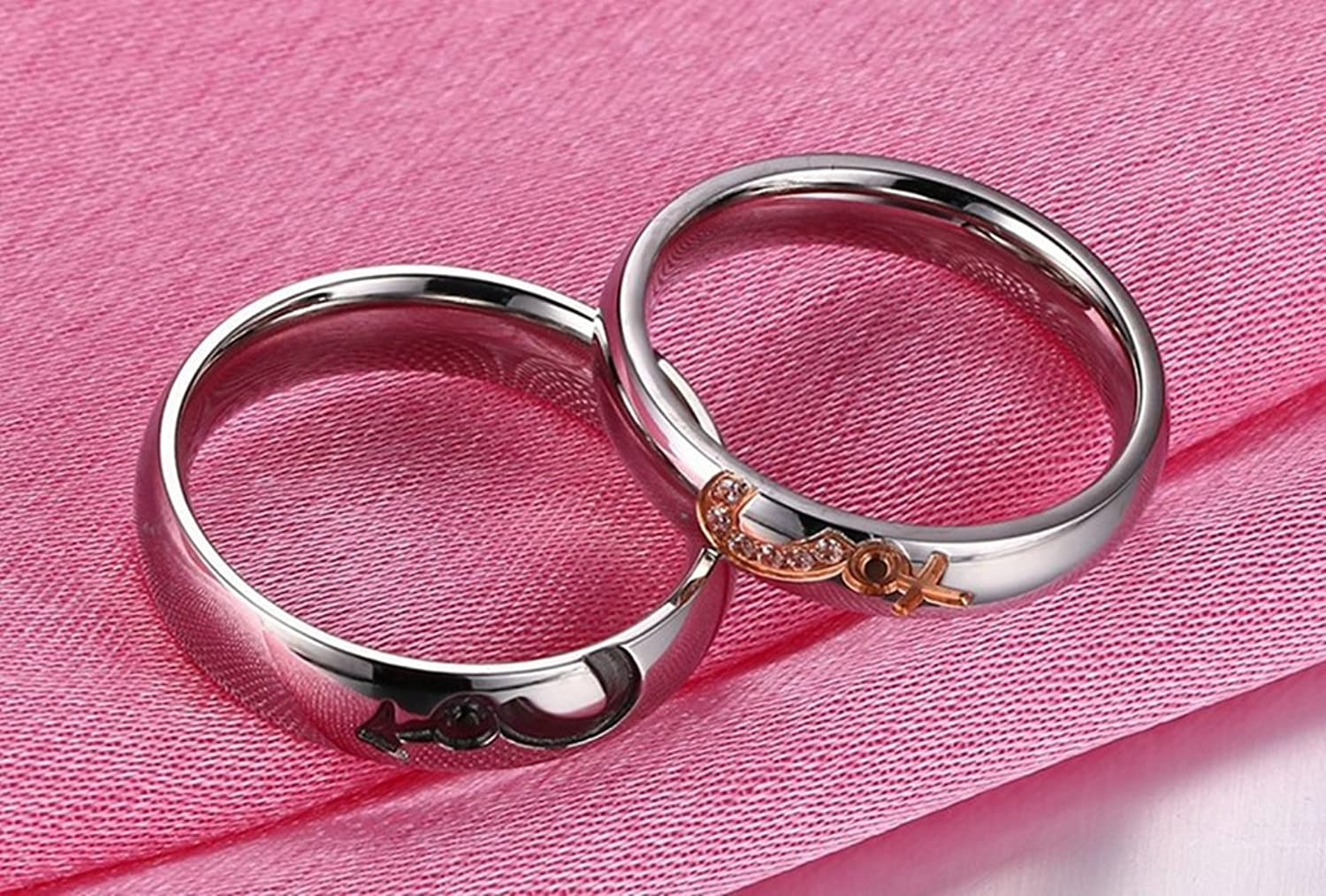 Amazon.com: Gnzoe Wedding Rings Engagement Heart Love Stainless ...