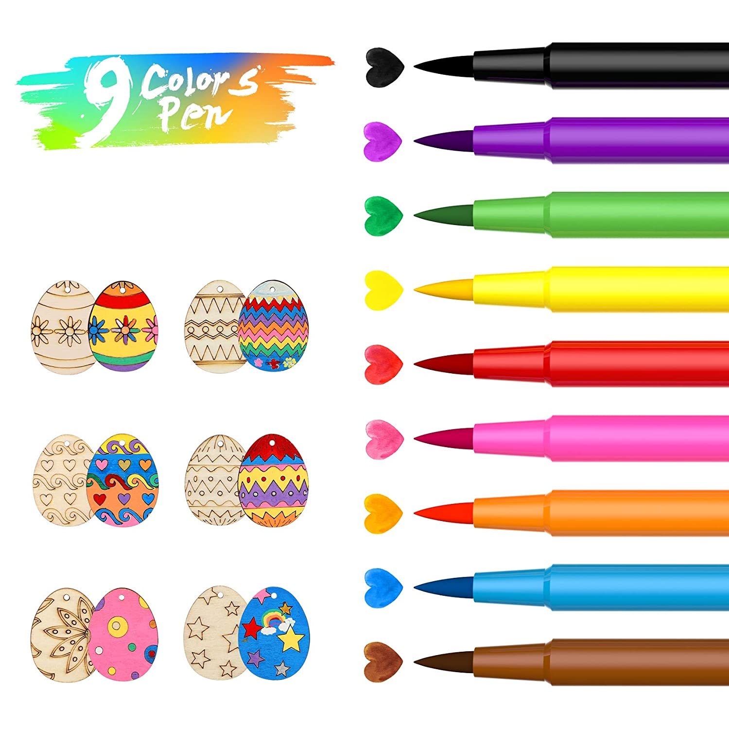 Edible Markers for Cookies Food Coloring Marker Pens 9Pcs ValueTalks Fine Tip Food Grade Food Gourmet Writers for DIY Decorating Fondant Cakes Easter Eggs Baking Painting Drawing Writing