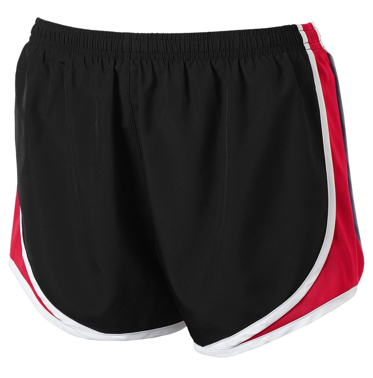 Clothe Co. Ladies Moisture Wicking Sport Running Shorts, Black/True Red/White, S by Clothe Co. (Image #1)