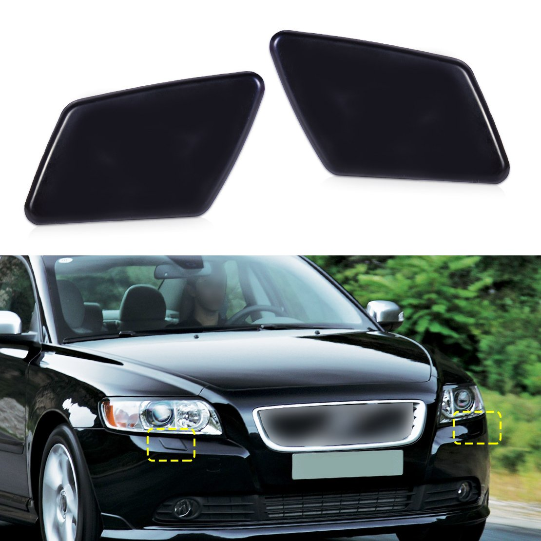 Headlight Washer Cover Keenso Car Headlight Washer Nozzle Cover Cap for Volvo XC90 2003-2006 30698209 30698208