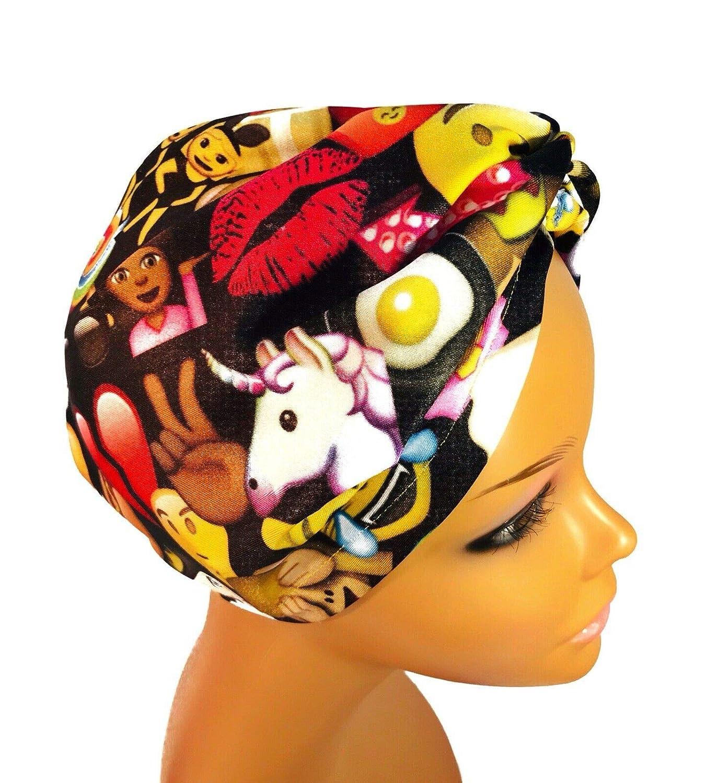 a3b45073cec78 Amazon.com: Black Emoji - Satin Lined Turban Hair Wrap - Hairnet ...