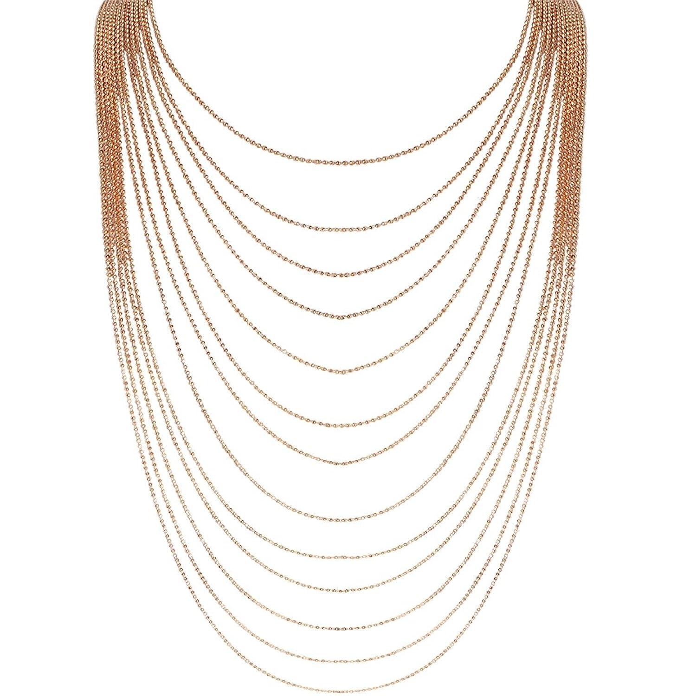 Humble Chic Multi-Strand Statement Necklace - Slim Chain Beaded Waterfall Bib Long Chains