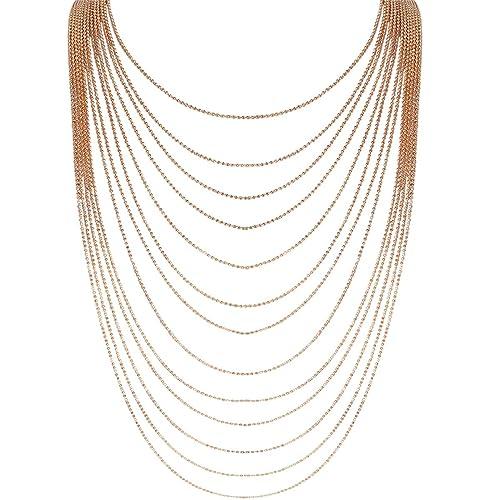 f7dfa2b9ad3 Humble Chic Multi-Strand Statement Necklace - Slim Chain Beaded Waterfall  Bib Long Chains,