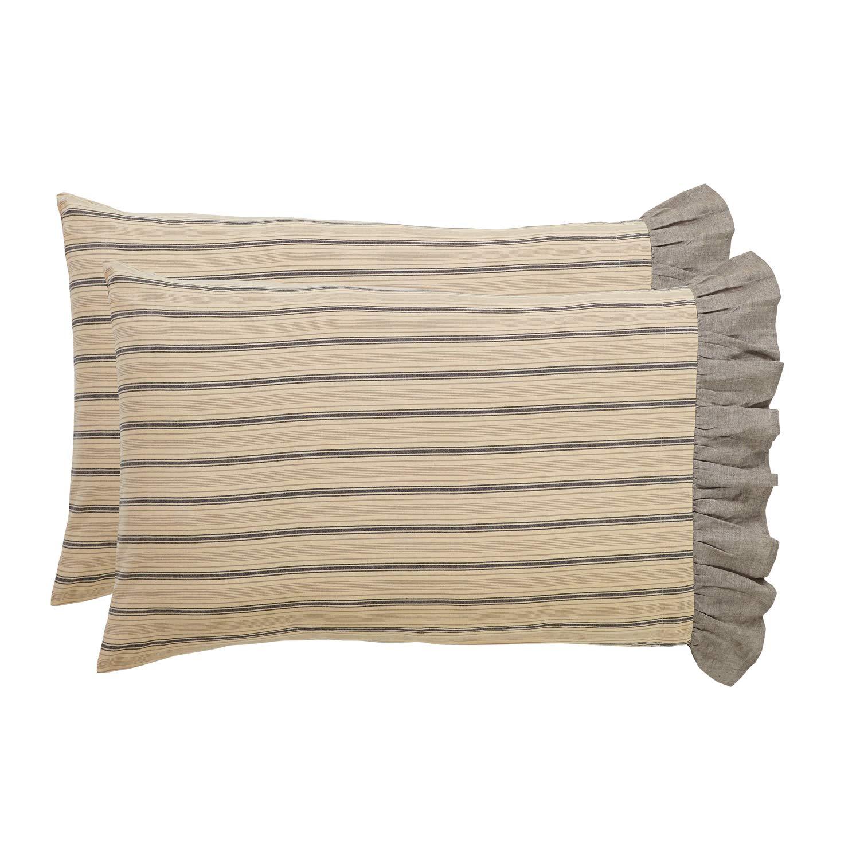 VHC Brands Farmhouse Bedding - Sawyer Mill Tan Pillow Case Set of 2, Standard, Dark Creme White