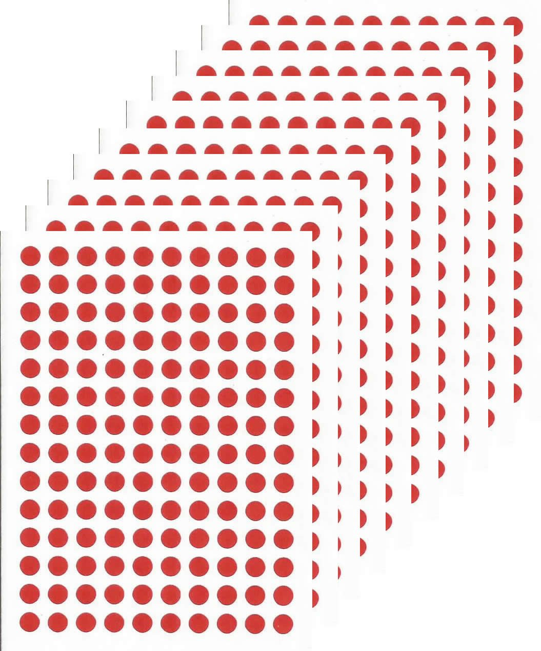 RED 1400 Round Stickers by Plannerworld Very Small 5mm Wall Planner Stickers