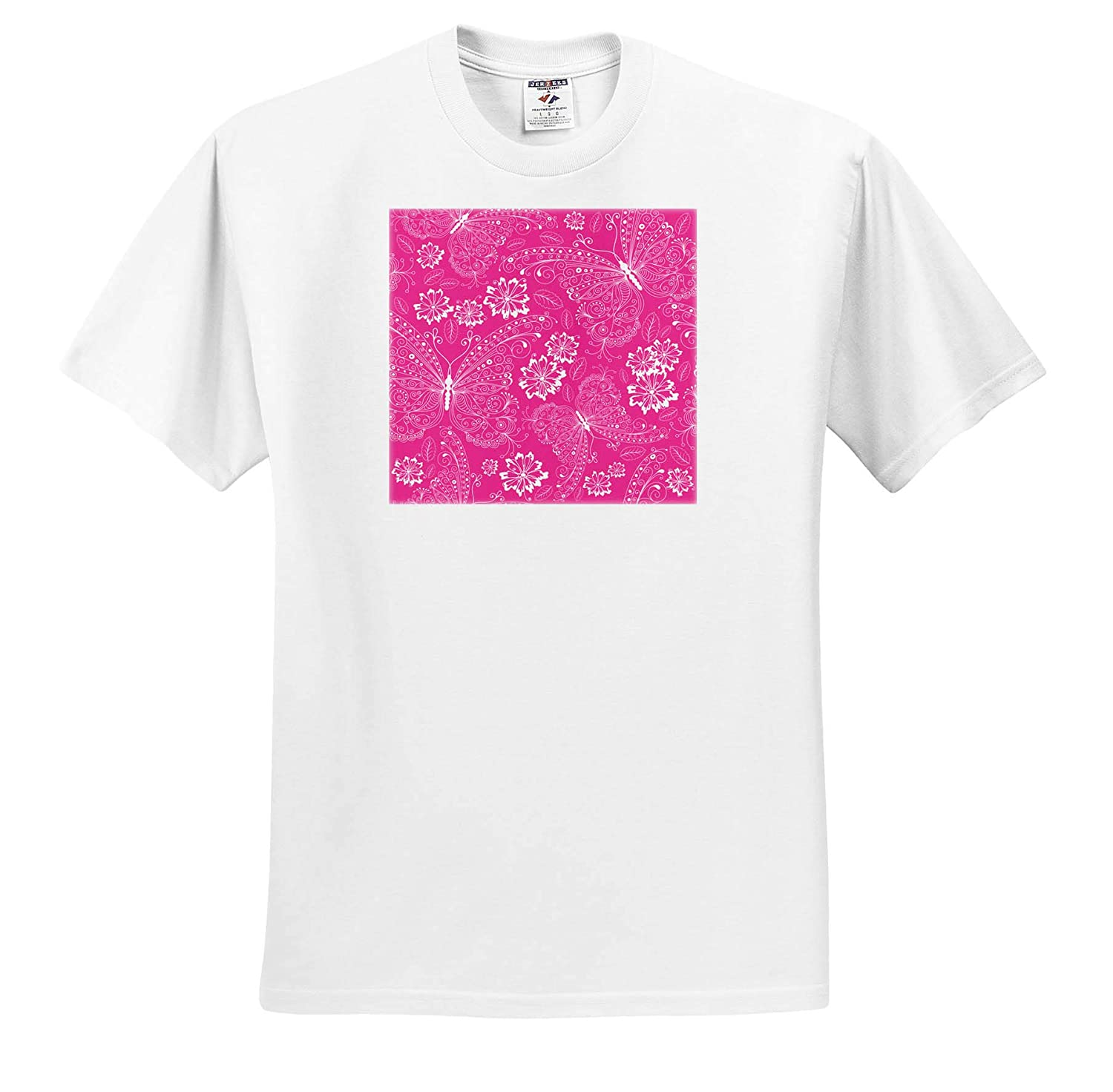 Adult T-Shirt XL 3dRose Anne Marie Baugh Patterns Pretty Pink and White Flourish Butterfly Pattern ts/_309389
