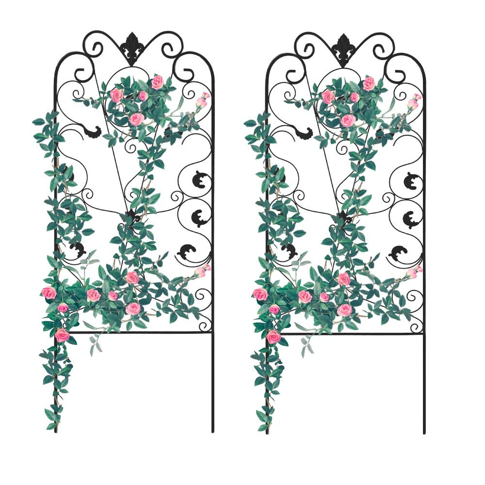 """Garden Trellis for Climbing Plants, 2PK, 60x24"""" Rustproof Black Iron Potted Vines Vegetables Flowers Metal Wire Lattices Grid Panels for Ivy Roses Cucumbers Clematis Pots Supports"""