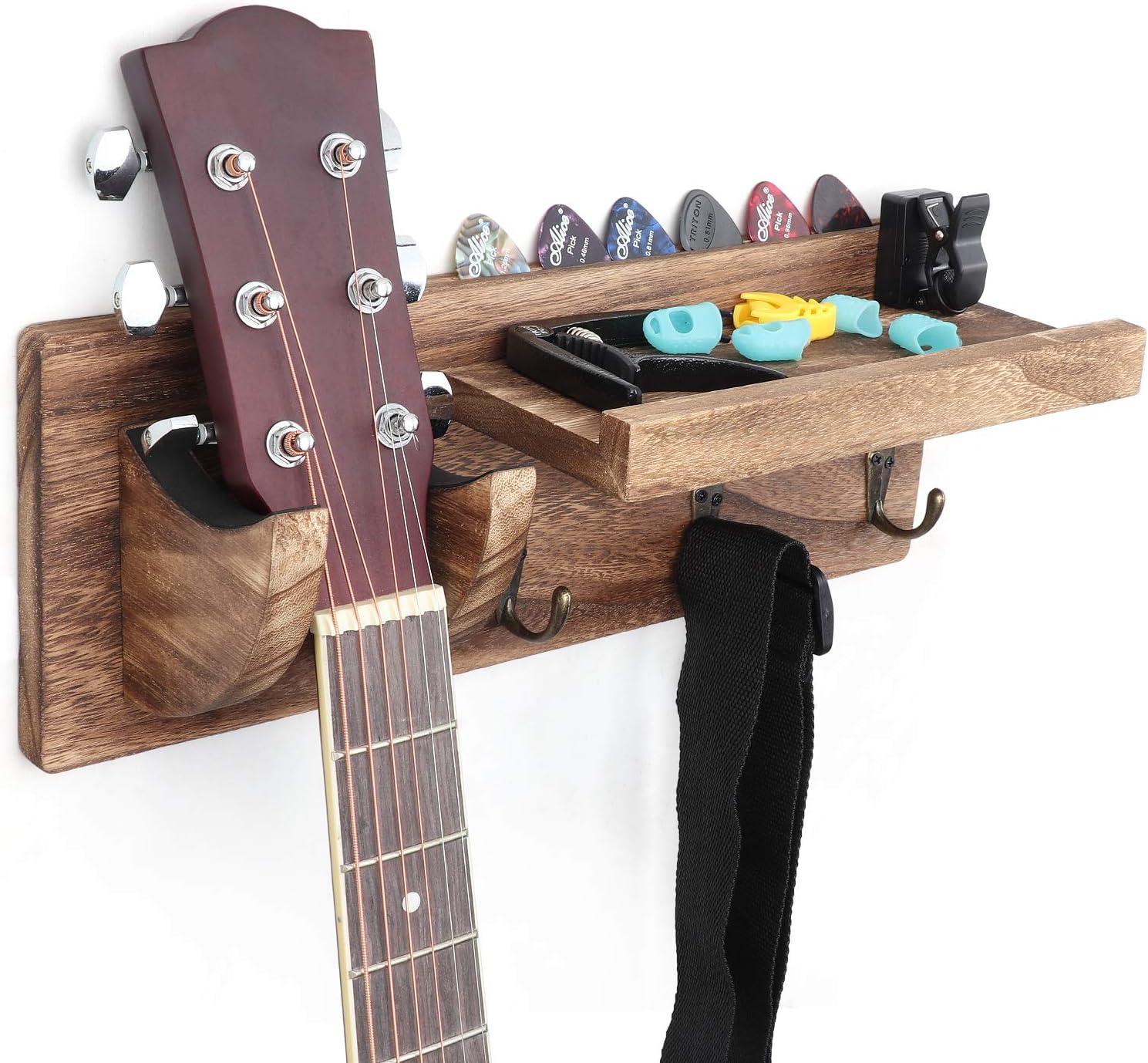 Bikoney Guitar Holder Wall Mount Bracket Guitar Wall Hanger Wood Hanging Rack with Pick Holder and 3 Hook Carbonized Black