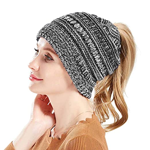 C.C BeanieTail Cable Knit Messy High Bun Ponytail Beanie Hat for Women d53f8399c9c2