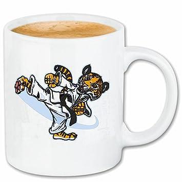Taza párrafo café KARATE TIGRE EN Karateanzug mientras gato gatos ejercicio gato grande del TIGRE LEOPARD REY tigre siberiano CARA PANTHERA cerámica Hö: ...