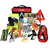 Blikzone 81-Pc Auto Roadside Assistance Emergency Essentials Car Kit, Truck & RV, with Tire Repair Kit • Jumper Cables • Portable Air Compressor • Tow Strap • Emergency Triangle