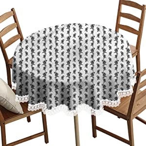 SoSung Dragon Decorative Round Table Cloth,Black and White Chinese Art Washable Polyester Lace Edge Table Covers, Diameter 60 Inch, for Harvest Dresser Decor Farmhouse Kitchen Home