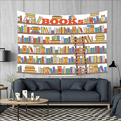 Smallbeefly Modern Tapestry Table Cover Bedspread Beach Towel Library  Bookshelf With A Ladder School Education Campus
