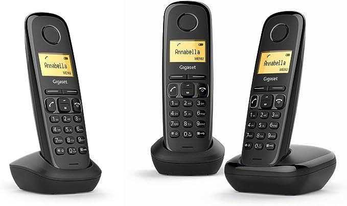 Gigaset A170 Trio - Teléfono Inalámbrico, Pack de 3 Unidadesds, Pantalla Iluminada, Hasta 50 Contactos, Volumen Ajustable, Color Negro: Gigaset: Amazon.es: Electrónica