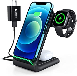Wireless Charging Stand, 3 in 1 Wireless Charging Station Dock 15W Fast Wireless Charger for iWatch SE/6/5/4/3/2, Airpods 2/Pro, iPhone 12/12 Pro/ 11/11 Pro/XR/XS/X/8/8P/Samsung (with QC3.0 Adapter)