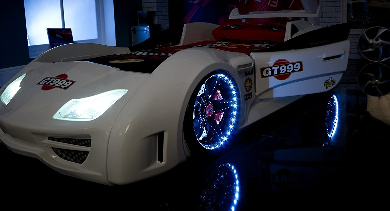 car bed speedster gt999 3ft super car bed led lights sound white childrens kids boys beds amazoncouk kitchen home