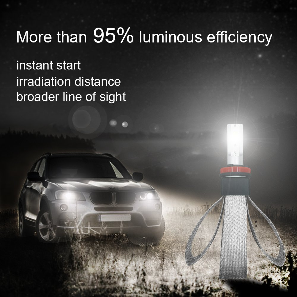 SWOO CAR Kit Faro Anteriore LED 9006 6500K 6000LM 60W HB4 Lampadine Per Fari Tutto In Uno Conversione DOB CHIP Bulbo Bianco Nebbia Luce Bi-Xeno 5 Anni Di Garanzia