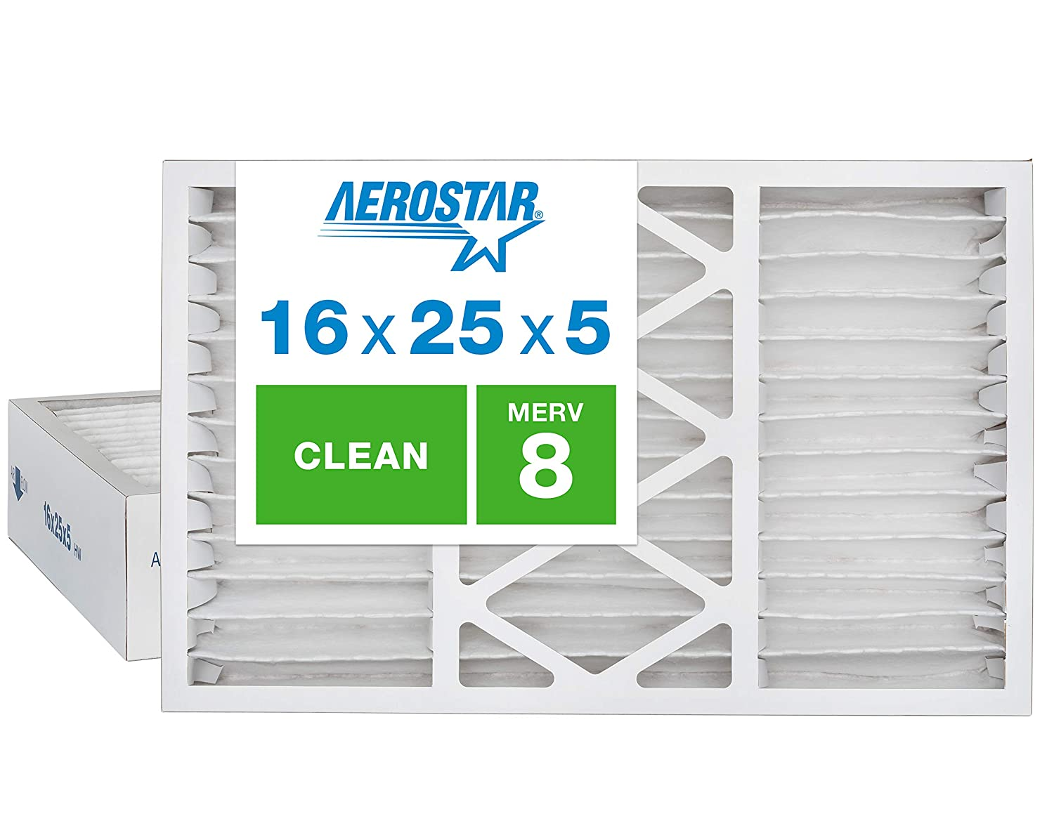 2-Pack,White Actual Size: 15 7//8 x 24 3//4 x 4 3//8 Captures Virus Particles, Aerostar Home Max 16x25x5 MERV 13 Honeywell Replacement Pleated Air Filter Made in the USA