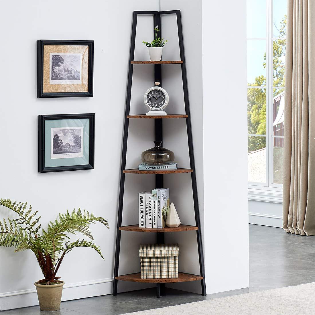 O&K FURNITURE Industrial Wood and Metal Corner Bookcase, 5 Tier Corner Display Unit Shelves, Brown Finish