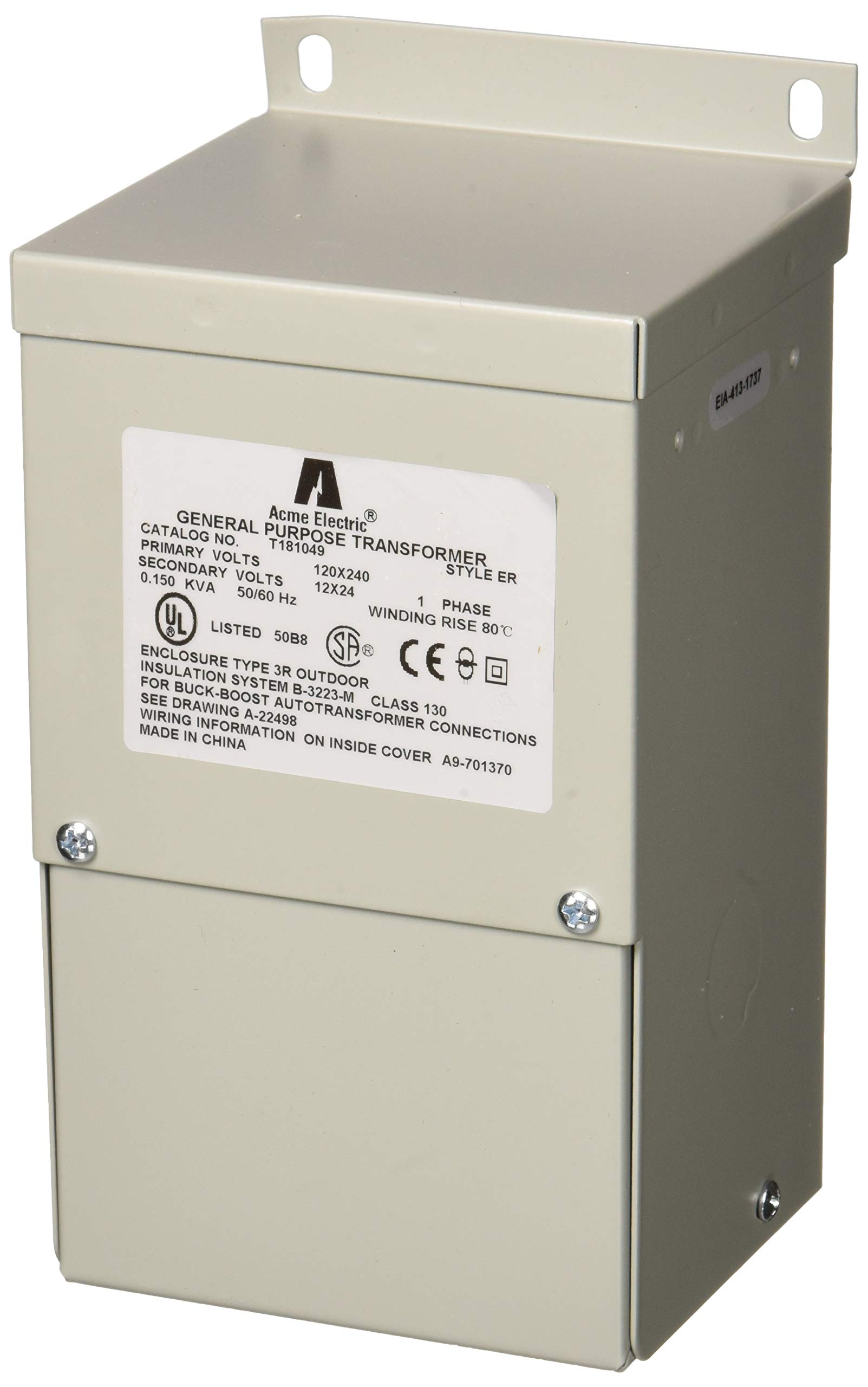 Acme Electric T181049 Transformer, 150VA, 1P, 120x240V, 12/24, Buck-Boost by Acme Electric