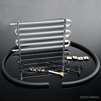 speedmotor Universal Aluminio mando a distancia para aceite de transmisión Auto-Manual Radiador Kit plata